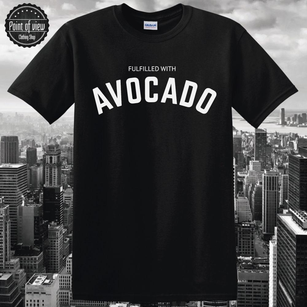T-Shirt Avocado Letter Print Cotton Funny Unisex Casual T Shirt New Black Shirt Men Funny O Neck Short Sleeve Cotton T-Shirt
