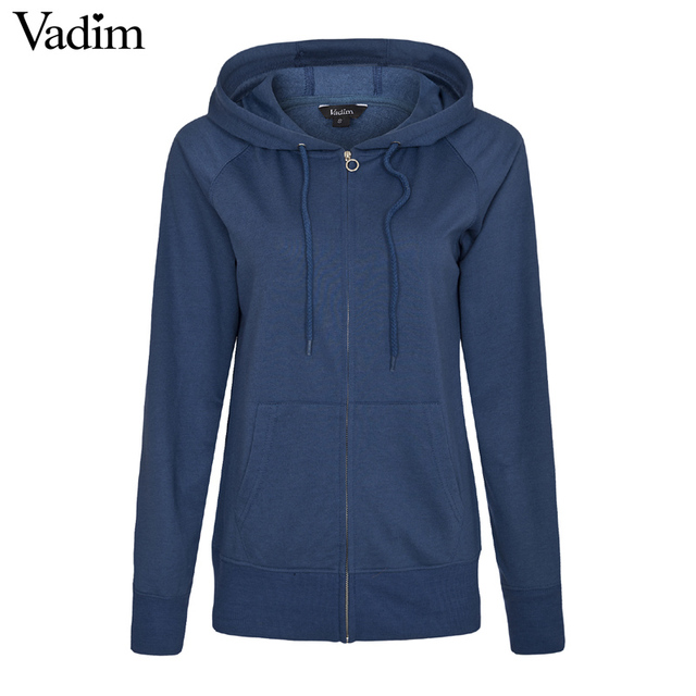 Women basic loose Zip-up Hoodie solid casual plussized long sleeve casual  Roupas Femininas autumn spring tops 5 Colors ZC043 56d07d08e0