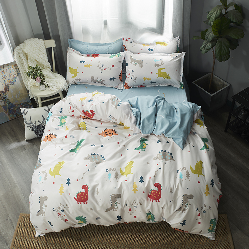 White Dinosaur Bedding Set Soft Quilt Cover Pillowcase Soft Bed Sets Twin Full Queen King Duvet Cover Cartoon Kids Bedclothes