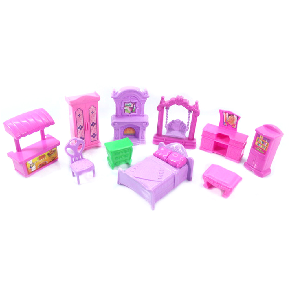 Hot Sale Pretend Play Toys Christmas Gift Plastic Furniture Miniature Rooms For Doll 22PCS/set 3D Dolls House Set Baby Kids-5