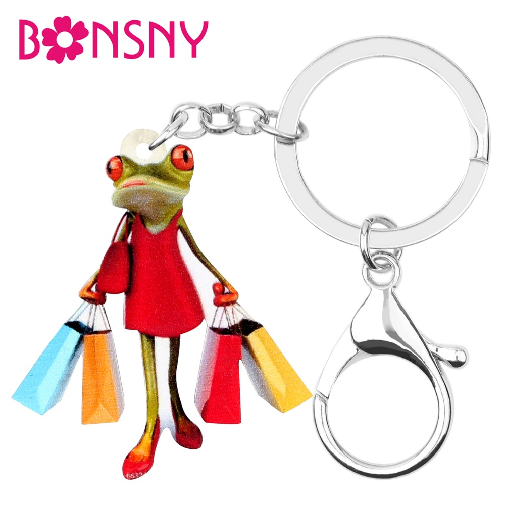 Bonsny Acrylic Shopping Lady Frog Key Chains Keychains Holder Fashion Animal Jewelry For Women Girls Gift Bag Car Charms Pendant