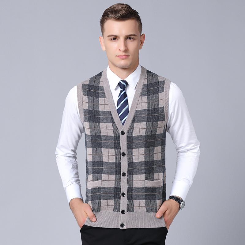 Mens vest sweaters casual style wool knitted single breasted men cardigan vest big size 3XL