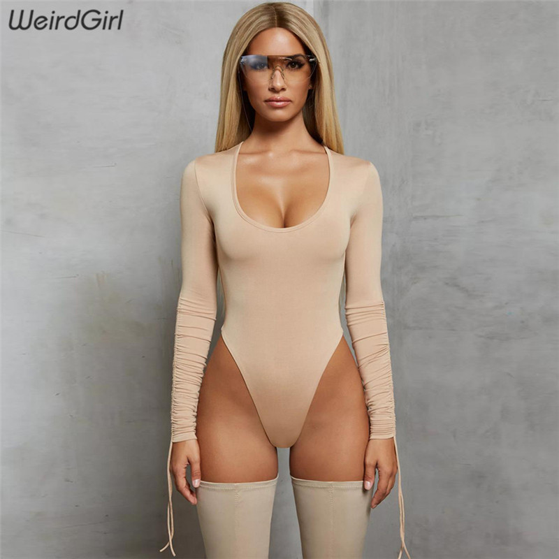 Weirdgirl women bodysuit sexy and club skinny slim solid long sleeve o-neck rompers new   jumpsuit   elegant party female casual