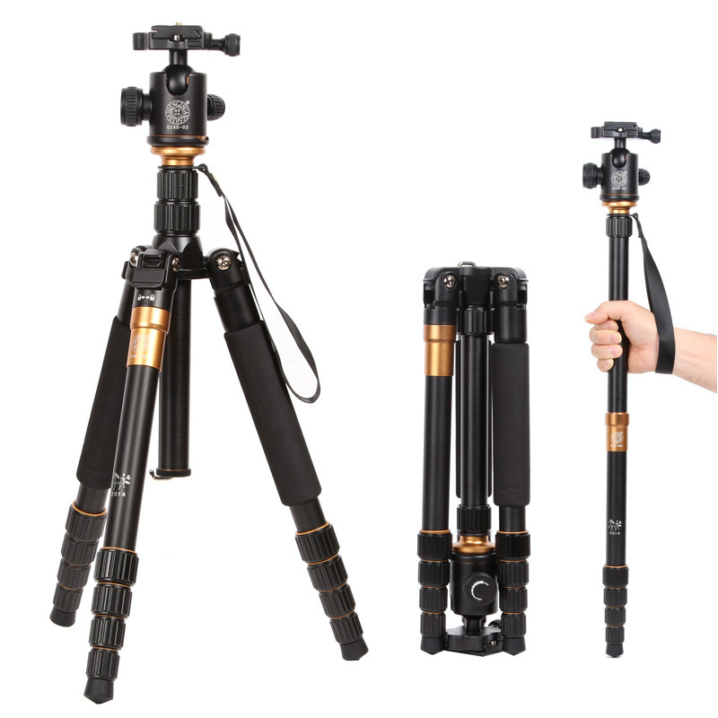 Q666 QZSD Pro -02 Professional Photographic Portable Tripod & Monopod Set For Digital SLR Camera Only 35cm Load Bearing 15Kg free shipping qzsd q999 portable tripod