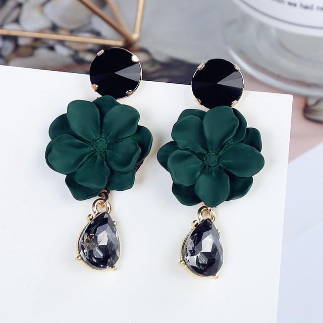 2017 Fashion Jewelry Elegant Black Crystal Green Flower Earrings Personalized Long Design Drop Earring