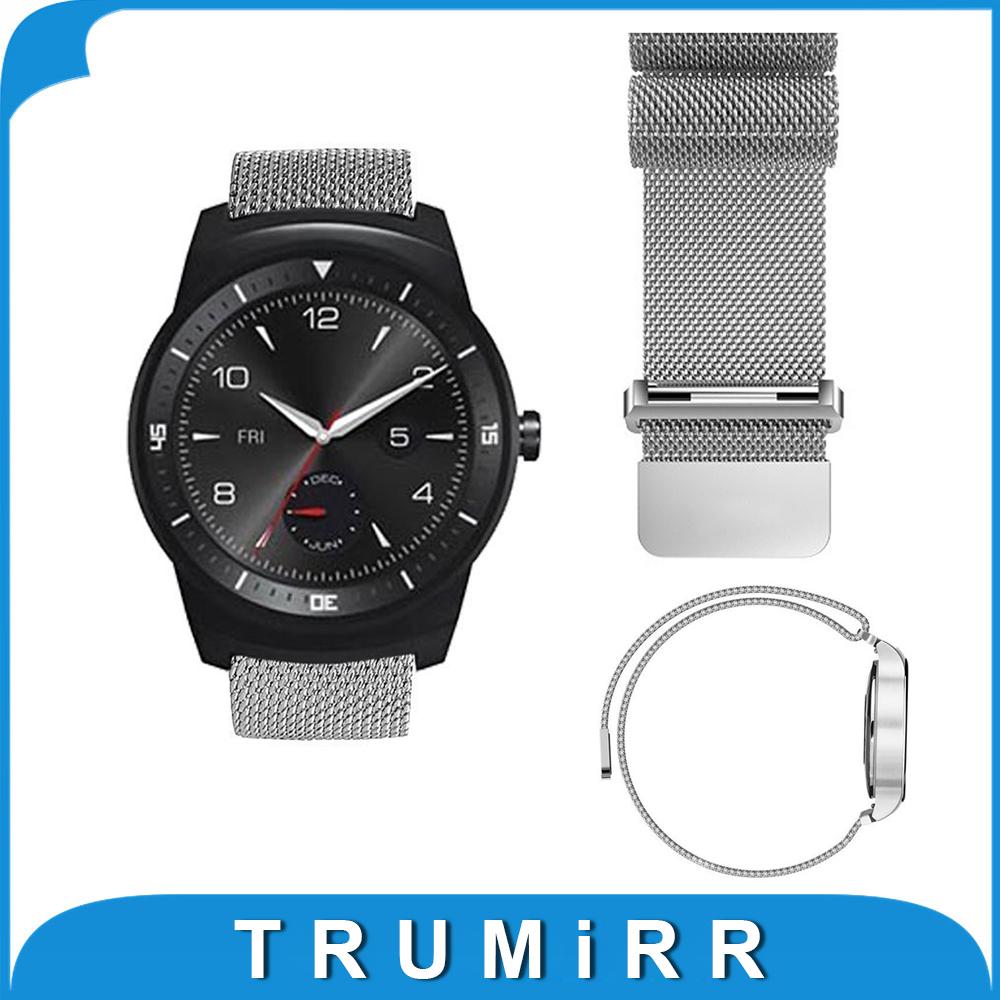 Prix pour 22mm Milanese en Boucle Bracelet En Acier Inoxydable Bande Magnétique Bracelet pour Lg G Watch W100/W110/Urbain W150 Pebble Temps ASUS Zenwatch 2