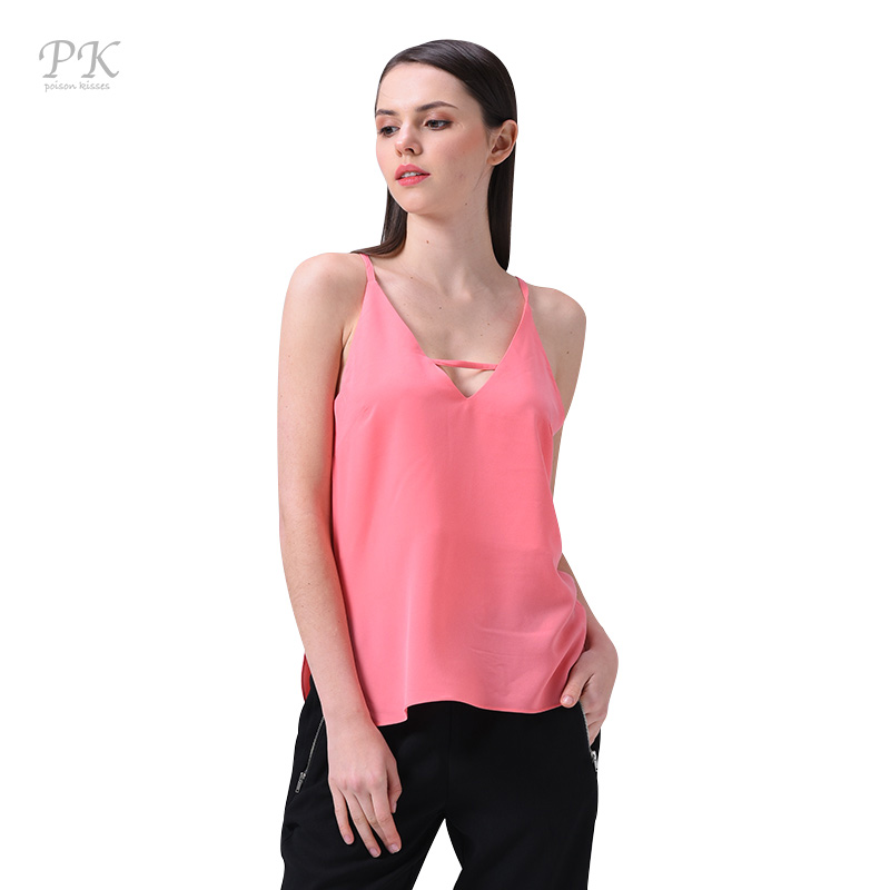 PK pink tank top women sexy tops party v neck streetwear backless strape camisole summer ...