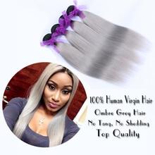 Brazilian Silver Grey Human Ombre Hair Extensions 1B Grey Brazilian Virgin Hair Straight 4 Pcs Lot Silver Gray Human Hair Weaves