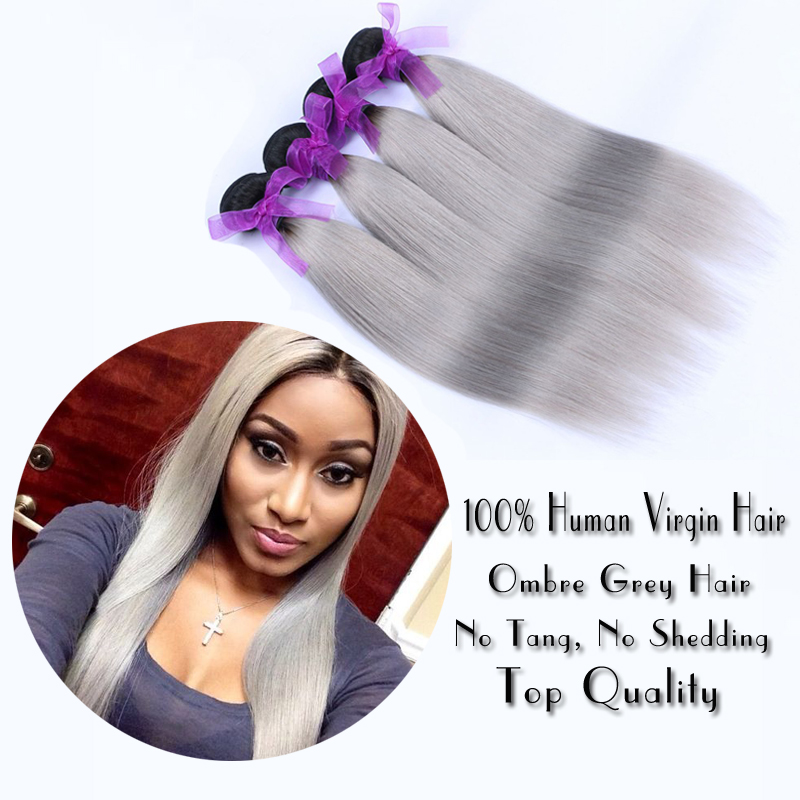 Brazilian Silver Grey Human Ombre Hair Extensions 1B Grey Brazilian Virgin Hair Straight 4 Pcs Lot Silver Gray Human Hair Weaves