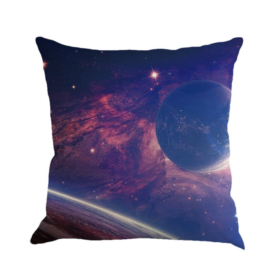 Galaxy Starry Moon Pillow Case Linen Printed Pillowcases Decorative Throw Pillows For Sofa Car Seat Cushion Cover Home decor