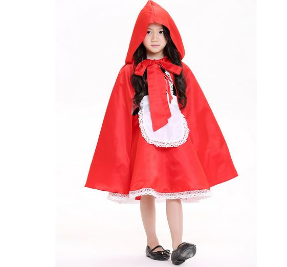 100-160cm Little Red Riding Hood cosplay carnival costume halloween  role-playing dress+cloak girl  uniformkid child suit party