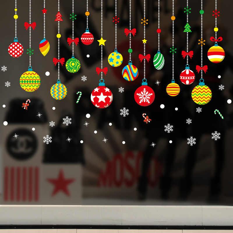 クリスマスカラーボール装飾壁ステッカー寝室リビングルーム用のガラス窓家の装飾アートデカール壁紙クリスマス
