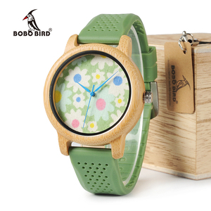 Image 4 - BOBO BIRD WB04 Fashion Causal Bamboo Watch with Fabric Dial Ladies Wood Watches With Soft Silicone Straps Quartz Watch With Box