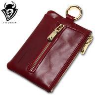 النساء جلد طبيعي tauren النفط الشمع البريدي محفظة عملة حقيبة الأزياء مفتاح سلسلة حامل مفتاح القضية حامل سحر جودة عالية