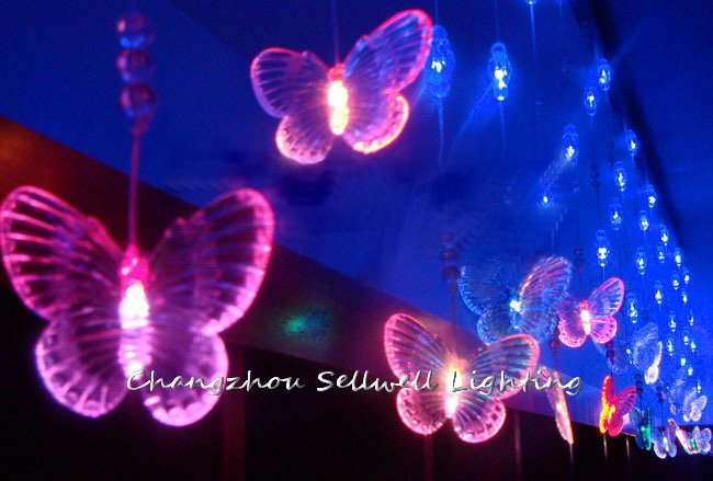Artificial Christmas Tree Great!led Christmas Light Showcase Entrance Decoration 5m Coloured Butterfly Bead Curtain Lamp H127 5m 50 led string light for showcase courtyard decoration festival celebration