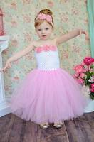 Girl TUTU Dress Europe and America Flower Lace Top Gauze Bottom Patchwork tutu Dress Children Clothes 1-13T PT152