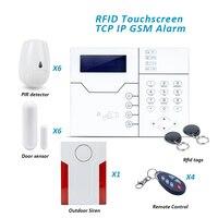 DIY Home Burglar Alarm System TCP IP GSM Network Alarms with Outdoor Waterproof Flash Siren and Pet PIR Motion Sensor
