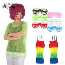Disco Costume 80s Fishnet Neon T-Shirt Retro String Mesh Top Roller Disco Rocker Fancy Dress Clubbing Hip-hop See Through Shirt disco collection 80s
