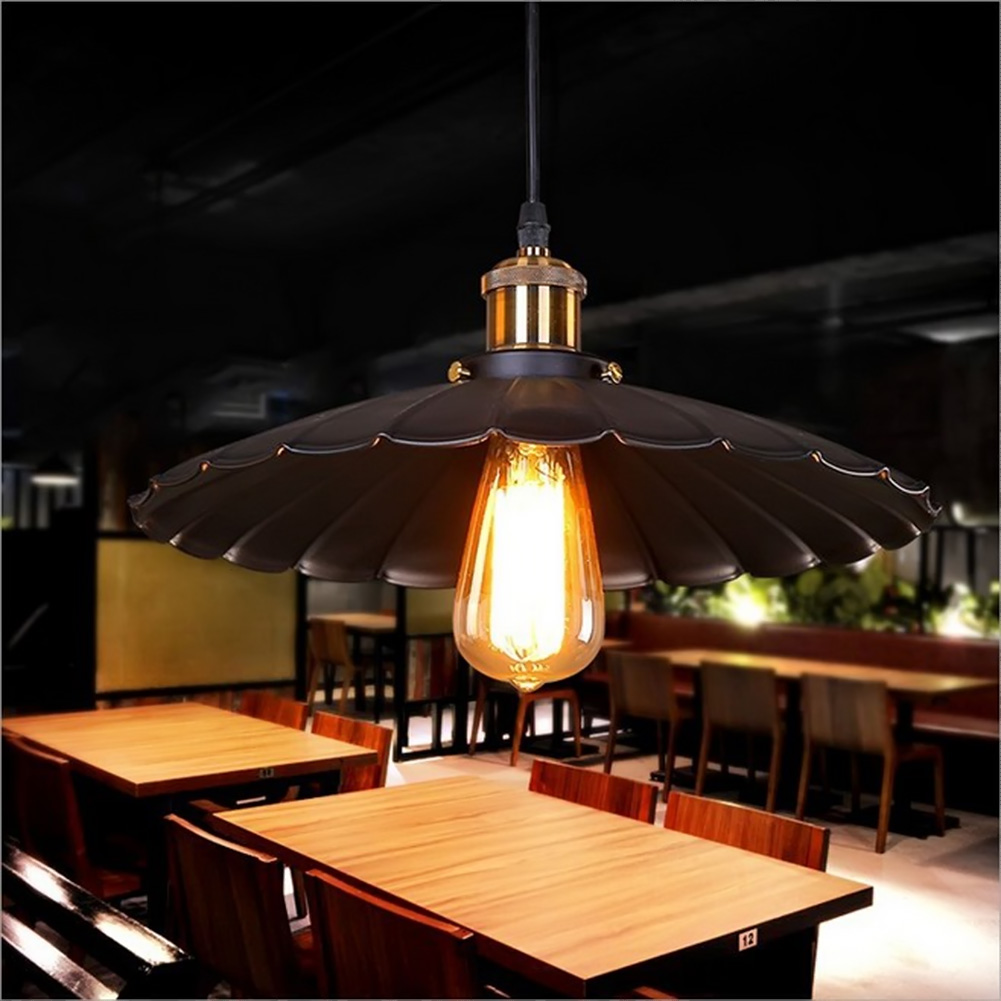 E27 Painted Iron Retro Vintage Pendant Light Countryside Antique Lamp Pendant Lamp The Lotus Shape