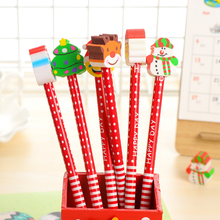 ФОТО 5pcs/lot merry christmas series wooden pencils with erasers new funny children students gifts office school supplies 344