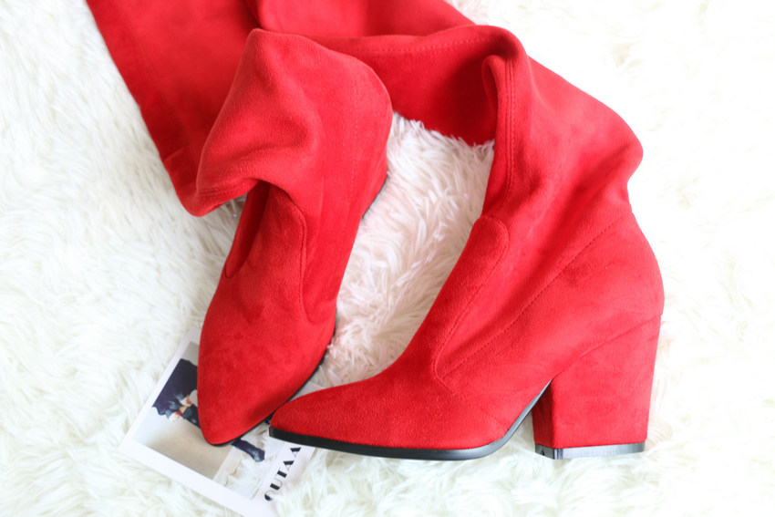 Women Hoof Heels Winter Shoes Pointed Toe Sexy Elastic Fabric Boots 36