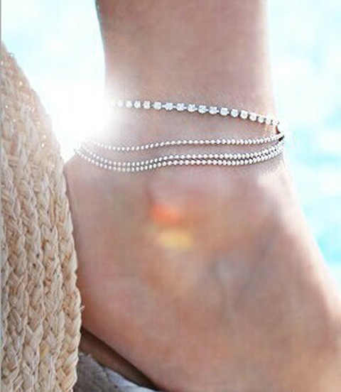 New Arrival Fashion Women Multi Layer Ankle Bracelet Chain Link Foot Crystal Beaded Sandal Beach Ankle Jewelry For Female