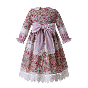 Image 3 - Pettigirl Muslim Girls Dress Long Sleeves Doll Collar Flower Printed Dress For Girls Birthday Party Dress Boutique Kids Clothes