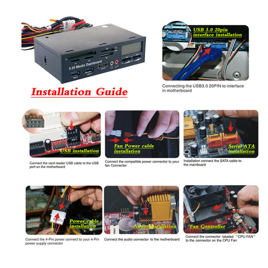 5.25 Optical Drive Front Panel USB 3.0 e SATA All in 1 PC Media Dashboard Multi function audio/temperature display Card Reader