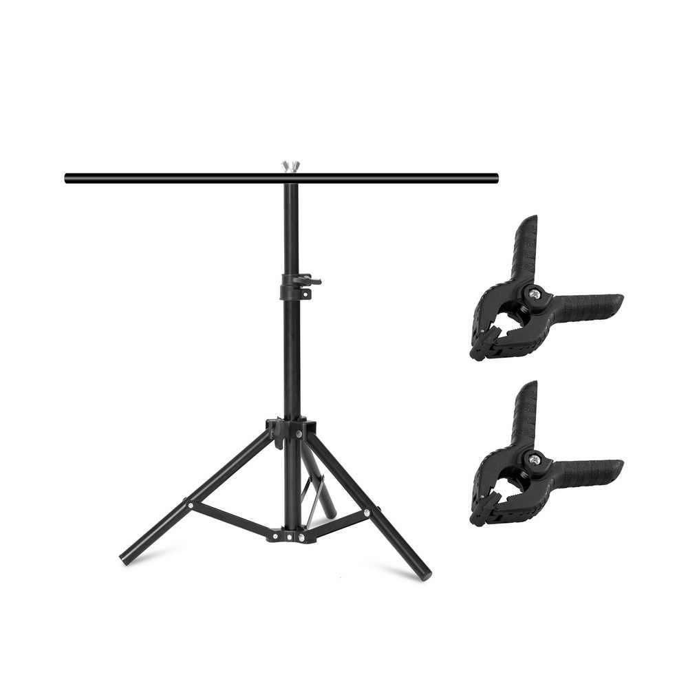Marco de fondo fotografía telón de fondo en forma de T soporte sistema de soporte fondos de Metal para estudio fotográfico tamaño múltiple