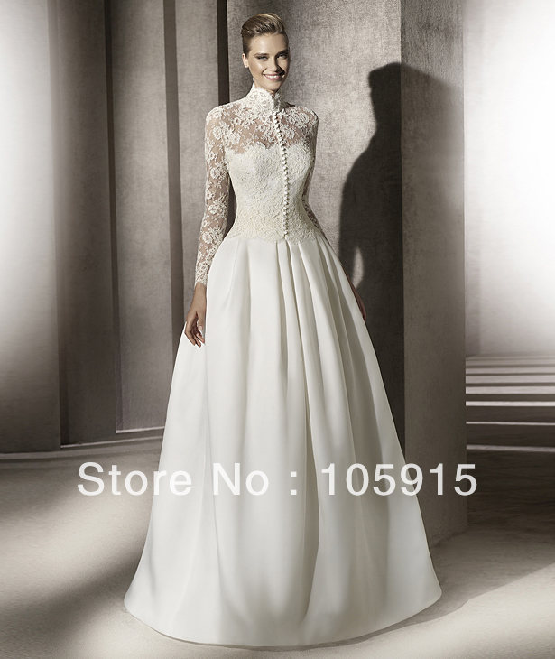 Vintage Princess Modest Grace Kelly\'s Wedding Dresses White Lace Bow ...