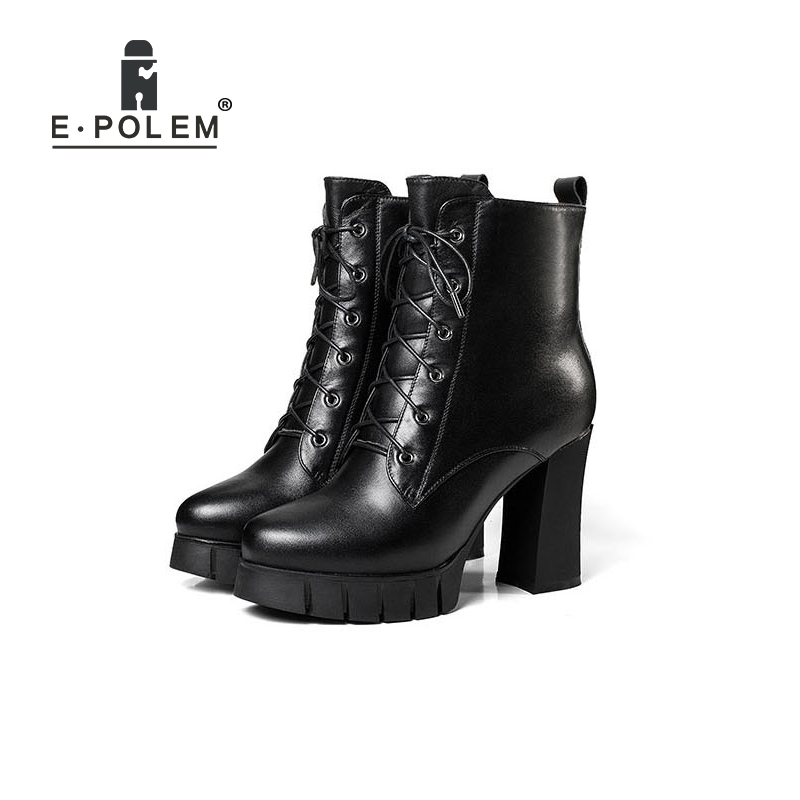 Female Winter Boots New Thick Fur Short Martin Boots Cross Tie Thick Heel Waterproof Platform Leather Shoes short boots woman the fall of 2017 a new restoring ancient ways british wind thick boots bottom students with martin boots