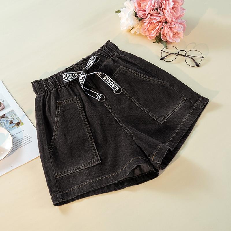 2019 Summer Loose Big Fat Big Sister, Cowboy Short Pants, Waist High Waist Trousers, Waist Tight Jeans