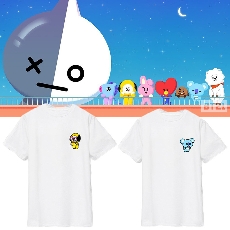 Kpop home New BTS Bangtan Boys Fans Club bt21 Same Q harajuku style Unisex Couples tshirrt Man and Women's T lovers' tee