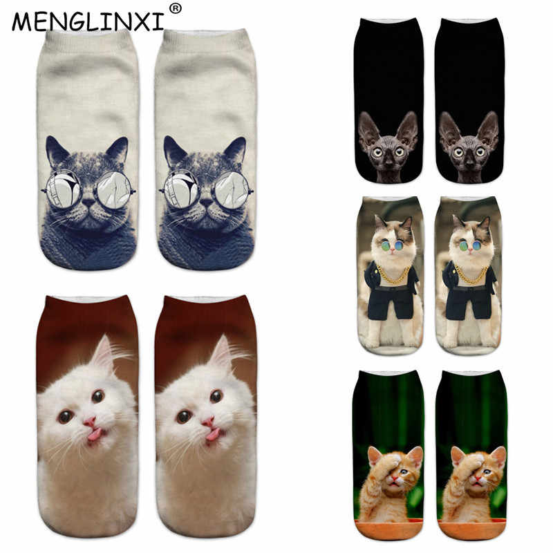 2019 New Design 3D Cat Print Women Socks Brand Sock Fashion Unisex Christmas Socks Meias Female Funny Femme Sock Drop Shipping