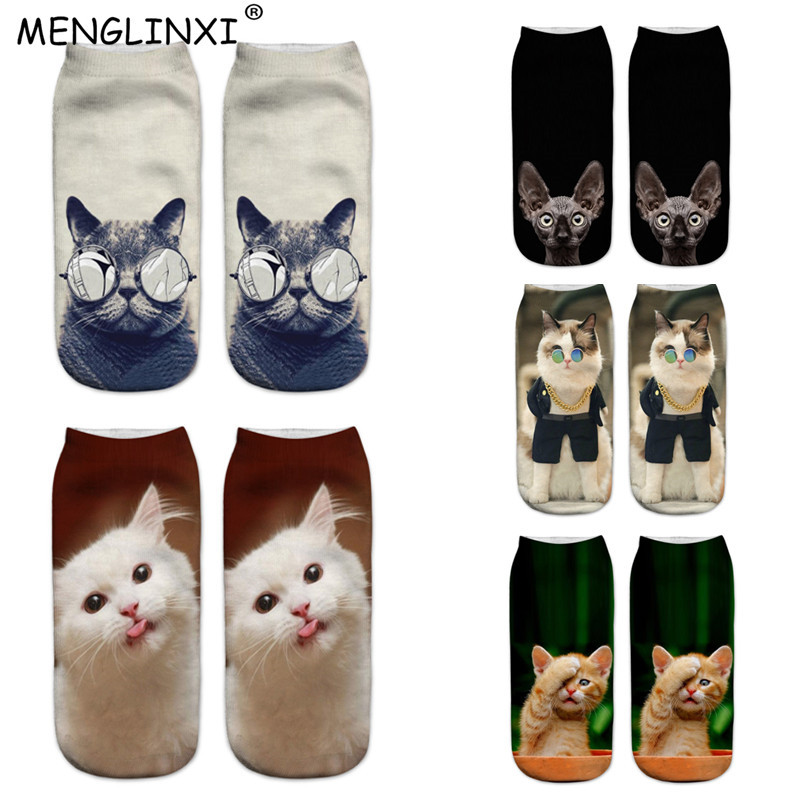 2019 New Design 3D Cat Print Women Socks Brand Sock Fashion Unisex Christmas Socks Meias Female Funny Femme Sock Drop Shipping