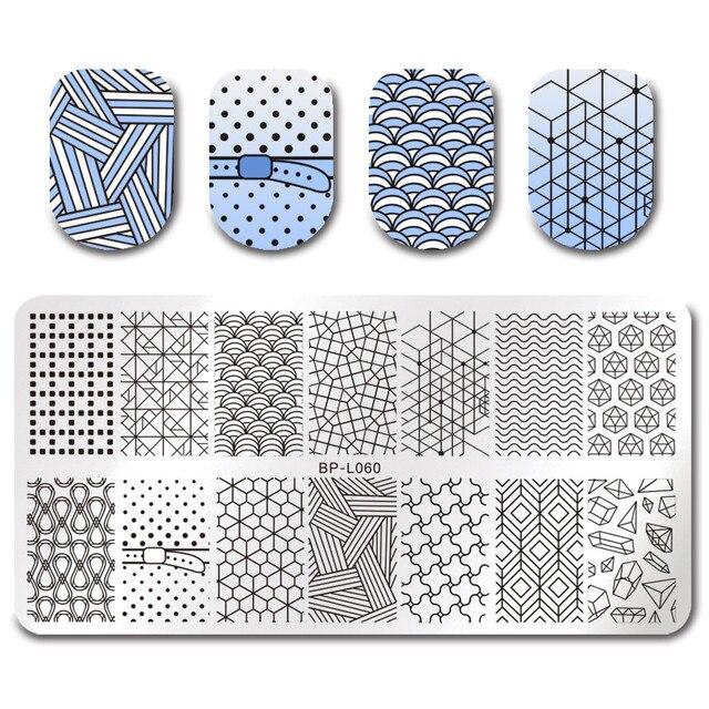 born pretty template stamping plate geometrical figure linear design