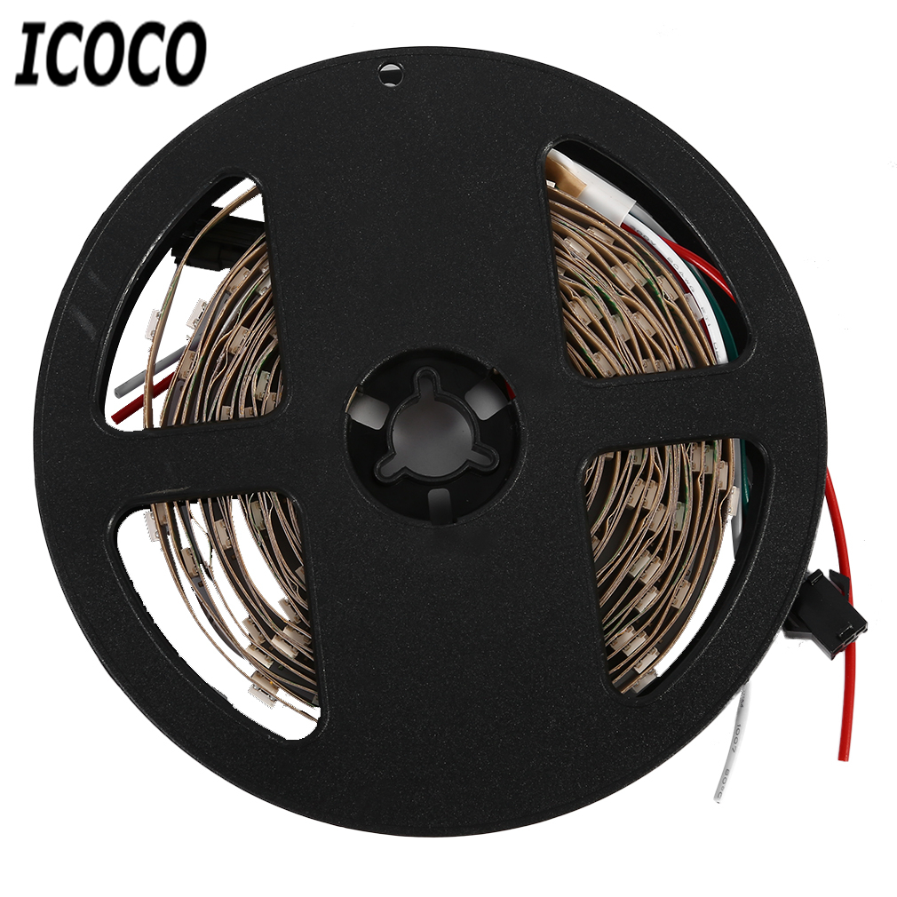 ICOCO 5M 150/300LEDs WS2811 5050 SMD 12V Waterproof Black/White PCB RGB LED Strip Light for TV Blackground Party Decor Free Ship стоимость