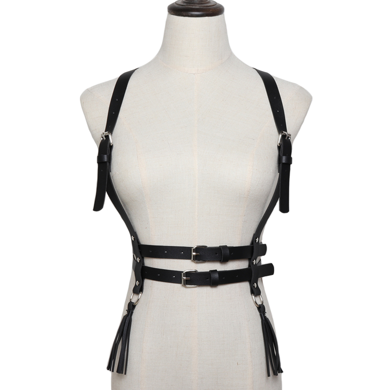 Fashion Punk metal O-ring Body Slimming hollow tassel   belts   Faux Leather Bondage Cage Sculpting Harness Waist Straps Suspenders