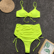 neon yellow swimsuit high waist bikini set waisted bathing suits pleated bandage swimwear women bikinis 2019 mujer new beachwear