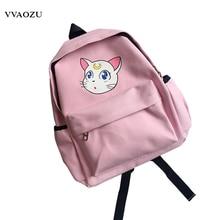 Sailor Moon холст школьная сумка Кот Луна принт Сумки на плечо элегантный дизайн Harajuku рюкзак книга Сумка для подростков Обувь для девочек