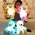 Drop Shipping Creative Light Up LED Teddy Bear Stuffed Animals Plush Toy Colorful Glowing Teddy Bear Christmas Gift for Kids