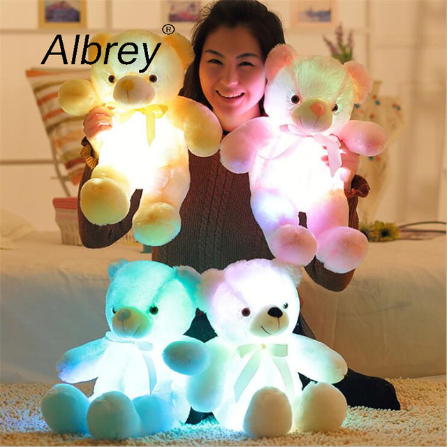 Drop Shipping Creative Light Up LED Teddy Bear Stuffed Animals Plush Toy Colorful Glowing Teddy Bear Christmas Gift for Kids Uncategorized Decoration Stuffed & Plush Toys Toys