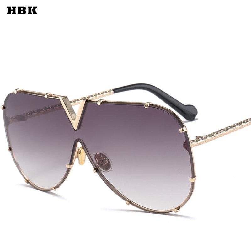 HBK Luxury Italy Oversized Aviator Sunglasses Women UV400 Retro Brand Designer Big Frame Sun Glasses For Female Ladies Eyewear