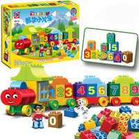 50 stücke Große Zahlen Zug Bausteine Spielzeug Für Kinder Kinder Geschenk DIY Pädagogisches Spielzeug Kompatibel LegoINGlys Duploes stadt