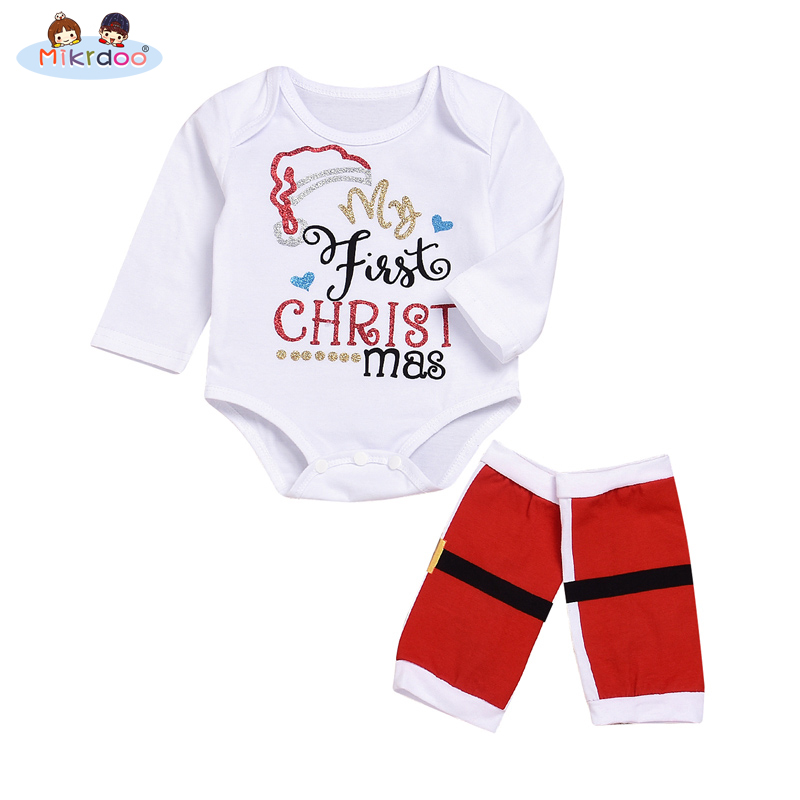 2018 Christmas Newborn Baby Girls Bodysuit Onesie Clothing Set Infant Girls Letter Bodysuits+Leg baby sport Outfit Clothes