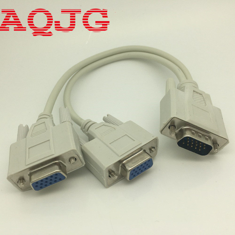 vga Male to 2 Female Serial Rs232 Splitter Cable VGA  Male to 2 Female 2 in One Cable for Cash Register Displays VGA15 PIN usb to male rs232 serial cable