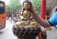 13 Tibetan Healing Buddhism Temple Copper Gild Sakyamuni Tathagata Amitayus Buddha Statue Cooking Tools Decoration Brass
