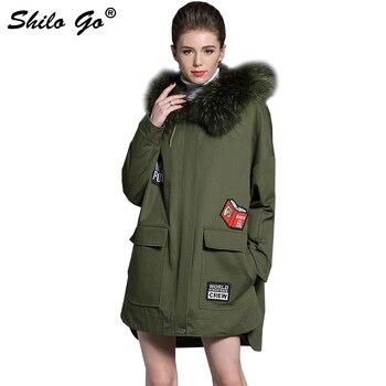 02142d26dc6 Invierno para mujer verde del ejército larga Parkas abrigos chaquetas  gruesa Parkas Plus tamaño Real Piel de mapache con capucha y cuello de piel  de cordero ...