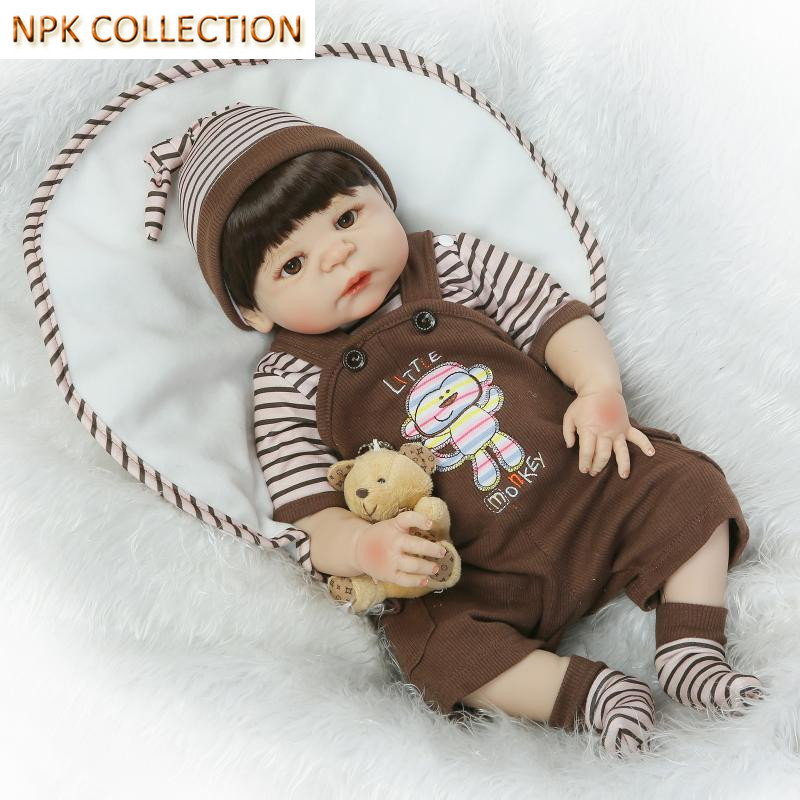 NPK COLLECTION Full Silicone Reborn Baby Dolls Real Reborn Babies Bonecas Educational Toys for Children Birthday Brinquedos 20 real reborn babies bonecas newborn baby dolls with clothes lovely reborn silicone baby dolls educational toys for children