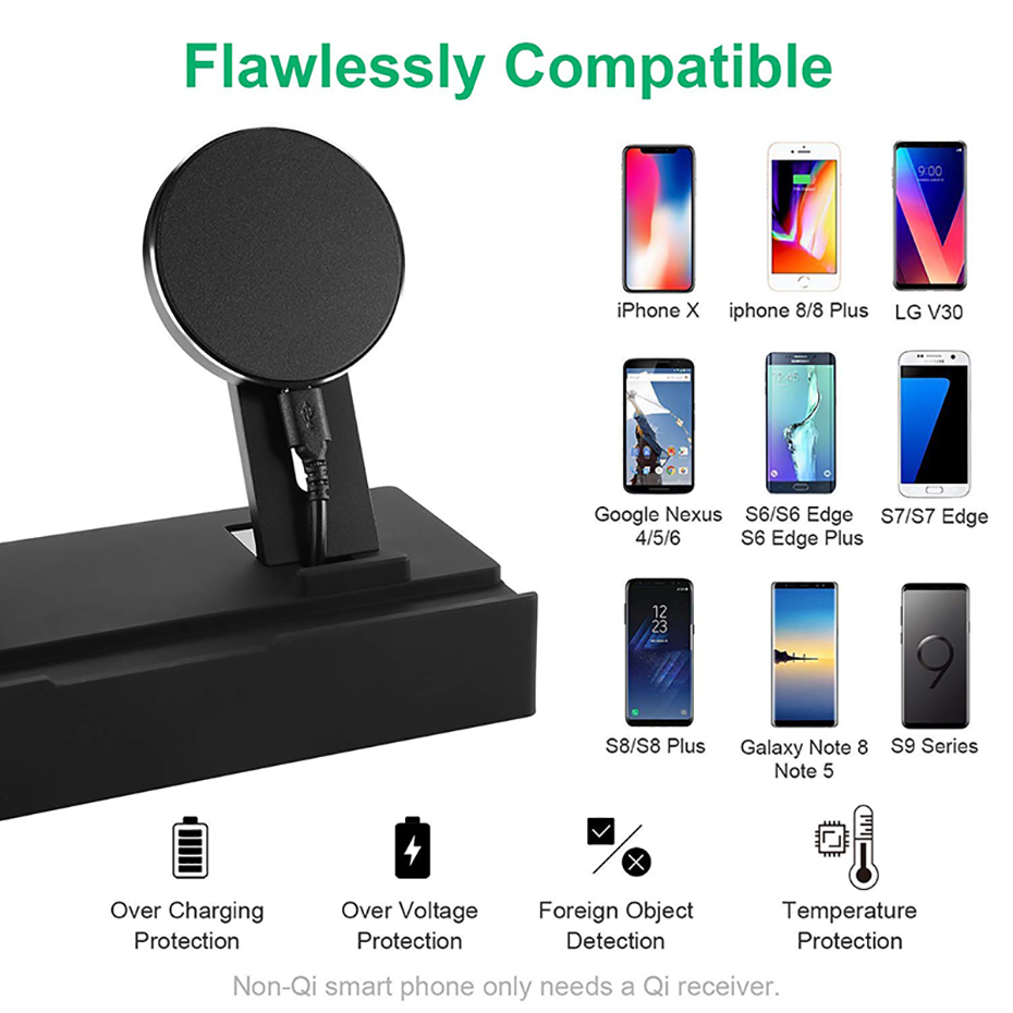 Multi Function Nightstand QI Wireless Charger For Iphone  Samsung Charger Stand For Airpods Apple Watch USB Charger Dock Station (4)